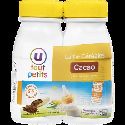 Lait et céréales goût cacao U TOUT PETITS, 2 bouteilles de 250ml
