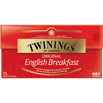 Thé English Breakfast TWININGS, 25 sachets, 40g