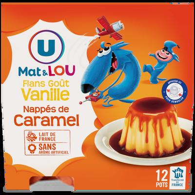 Dessert lacté flan goût vanille nappé caramel U MAT&LOU, 12x100g