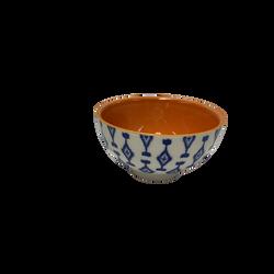 Bol de céramique 10x5,5x5,5cm blanc au motif bleu et intérieur terracotta-2 modèles assortis