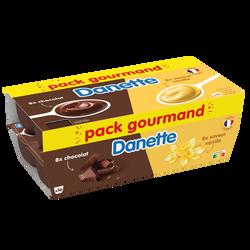 Crème dessert chocolat saveur vanille DANETTE pack 16x115G 1,84Kg