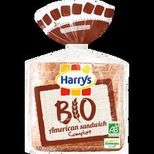 Pain de mie american sandwich complet Bio HARRYS, 400g