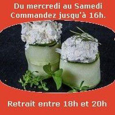 Tulipes 2 pièces, Concombre fromage de chèvre brin d'aneth SUSHI MONT BLANC