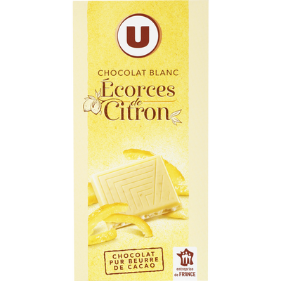 Chocolat blanc écorces de citron, U, tablette de 100g