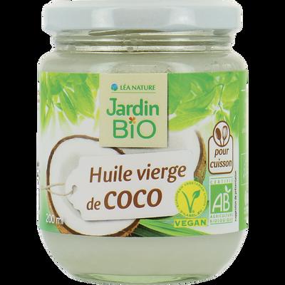 Huile de coco vierge JARDIN BIO,  bocal en verre de 200ml