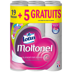 Papier toilette aquatube lotus MOLTONEL x19 + 5 gratuits