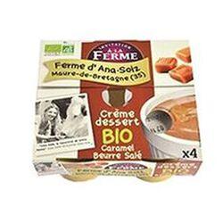 Crème dessert BIO au lait frais de vaches, caramel au beurre salé, FERME D'ANA-SOIZ, 4 pots de 100g