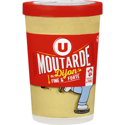 Moutarde forte de Dijon U, verre décoré de 195g