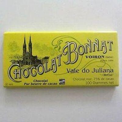 """Chocolat noir au beurre de cacao """"Chuao Village"""" BONNAT,100gr"""