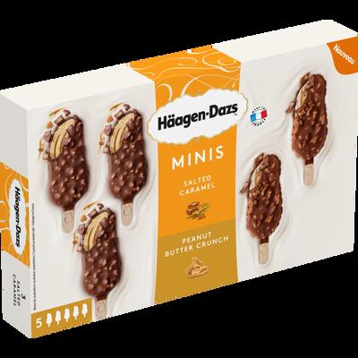 Mini bâtonnets caramel peanut HAAGEN DAZS, x5 soit 85g