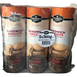 Biscuits fourrés chocolat, 3x300g