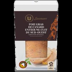 Foie gras de canard entier du Sud-Ouest mi-cuit IGP délicatement poivré Saveurs U, 200g