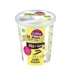 Riz au Lait fermier à la Vanille,BIO, Local Invitation à la Ferme Péard, Pot, 500g
