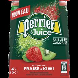 Eau minérale naturelle gazeuse au jus de fraise et kiwi PERRIER, 4x25cl