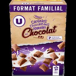 Céréales chocolatées et fourrées au chocolat U, 600g