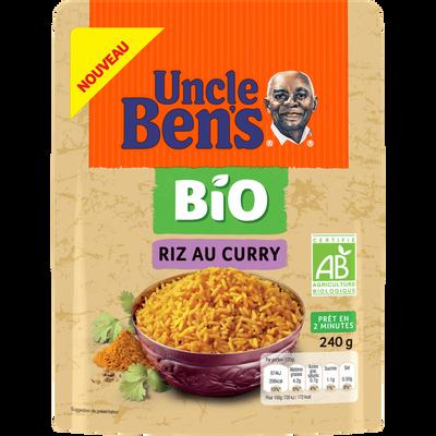 Riz express 2minutes saveur curry bio UNCLE BEN'S, pochon 240g