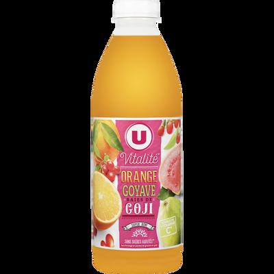 Jus de fruits vitalité orange goyave goji U, bouteille de 1l