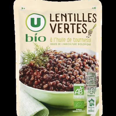Lentilles vertes à l'huile de tournesol U BIO, sachet micro-ondable de250g