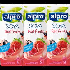 Briques boisson soja, fruits rouges avec calcuim et vitamines ALPRO, 3x250ml