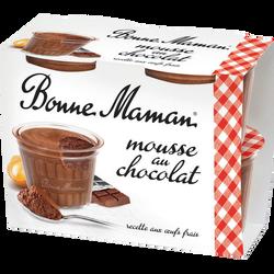 BONNE MAMAN Mousse au chocolat, 54% de mg, 4x50g
