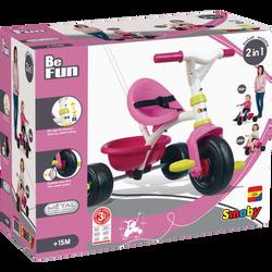 Tricycle Be fun SMOBY rose-selle ergonomique réglable sur 2 positions-pédales antidérapantes-grande benne basculante-verrouillage direction-ceinture-de 15 mois à plus de 3 ans