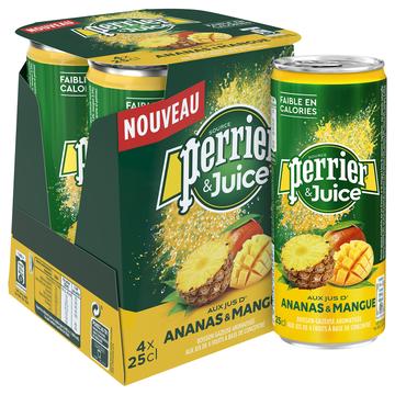 Perrier Eau Minérale Naturelle Gazeuse Au Jus D'ananas Et Mangue Perrier, 4x25cl