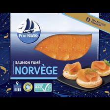 Petit Navire Saumon Atlantique Élevé En Norvège Fumé , 6 Mini Tranches,195g