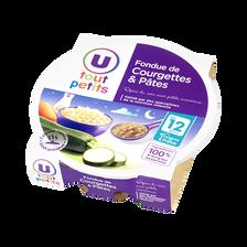 Assiette soir fondue courgettes pâtes U TOUT PETITS, dès 12 mois, 230g