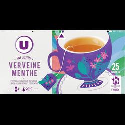 Infusion Verveine et Menthe U,  25 sachets, boîte de 40g