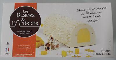Bûche glacée Fruits exotique.crème nougat.LES GLACES DE L'ARDECHE 600g