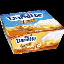 Le Liégeois à la vanille sur lit croquant de caramel noisette DANETTE,4x100g