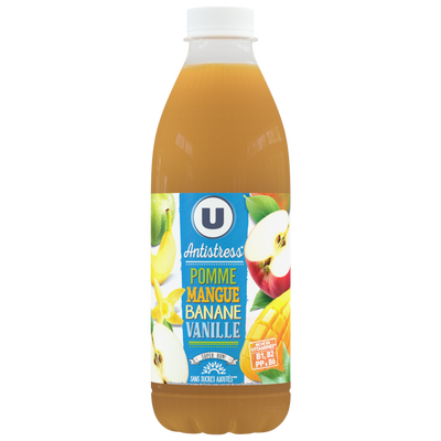 """Jus de fruits """"antistress"""" pomme mangue banane vanille U, bouteille de1l"""