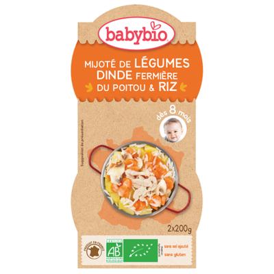 Bol mijoté légumes dinde et riz BABYBIO dès 8 mois 2x200g