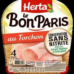 Jambon au torchon conservation sans nitrites Le Bon Paris HERTA, 4 tranches soit 140g
