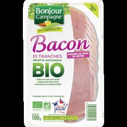 Bacon de porc BIO BONJOUR CAMPAGNE, 10 tranches soit 100g