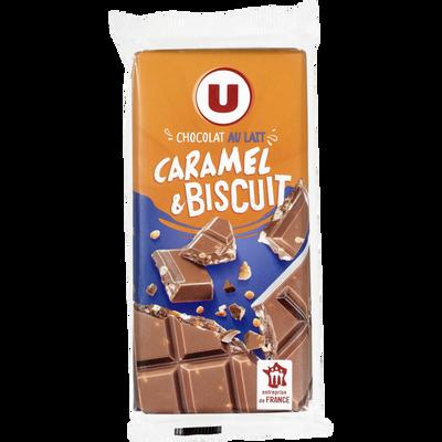 Chocolat lait caramel & biscuit, U, 2 tablettes de 100g