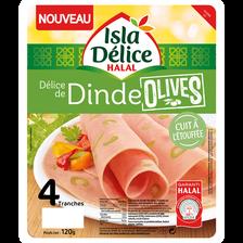 Délice dinde aux olives halal ISLA DELICE, 4 tranches, 120g
