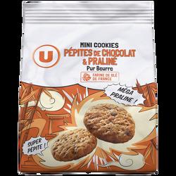 Mini cookies praliné/pépites de chocolat pur beurre U, 120g