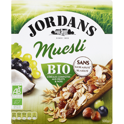 Céréales spécial fruits Muesli BIO JORDAN'S, boîte de 500g