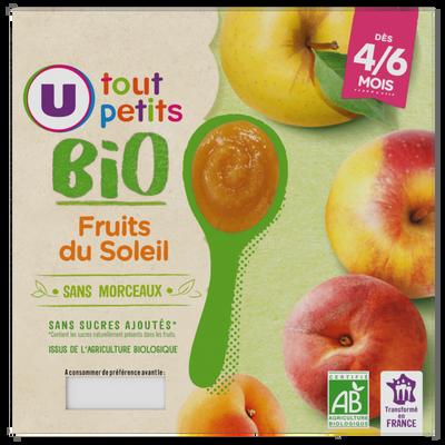 Pots dessert aux fruits du soleil U TOUT PETITS BIO, de 4 à 6 mois, 4x100g