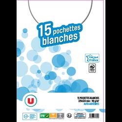 Pochette auto-adhésive U, papier 90g, 229x324mm, kraft blanc, 15 unités