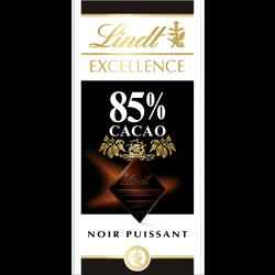 Chocolat noir 85% cacao Excellence LINDT, tablette de 100g