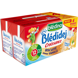 BLEDIDEJ Croissance biscuité saveur vanille, dès 12 mois, 4x250ml