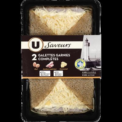 Galettes de blé noir garnies complètes U SAVEURS, x2, 300g