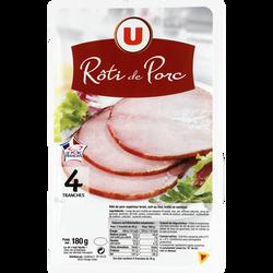 Rôti de porc cuit au four viande de porc Française U, 4 tranches soit180g