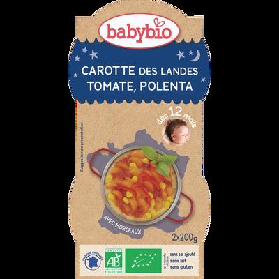 Bol carotte des Landes tomate polenta BABYBIO, dès 12 mois, 2x200g