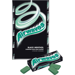 Chewings gum sans sucre Black Menthol AIRWAVES, 5x10 dragées, 70g
