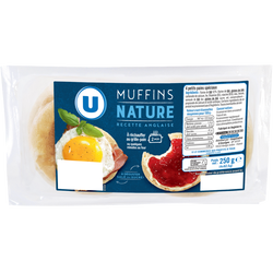 Muffins nature Recette Anglaise U, x4 soit 250g