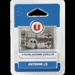 Fiche F Sat U, à monter, connecteurs:F 6,55mm mâle Plaque nickel/métal, fiches F pour la construction du cordon d'antenne pour raccorder laparabole au démodulateur, 4 unités