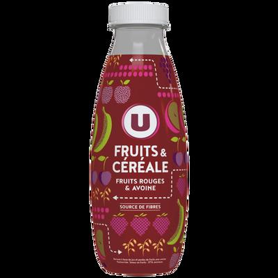 Jus de fruits et céréales fruits rouges et avoine, U, bouteille en plastique de 50cl